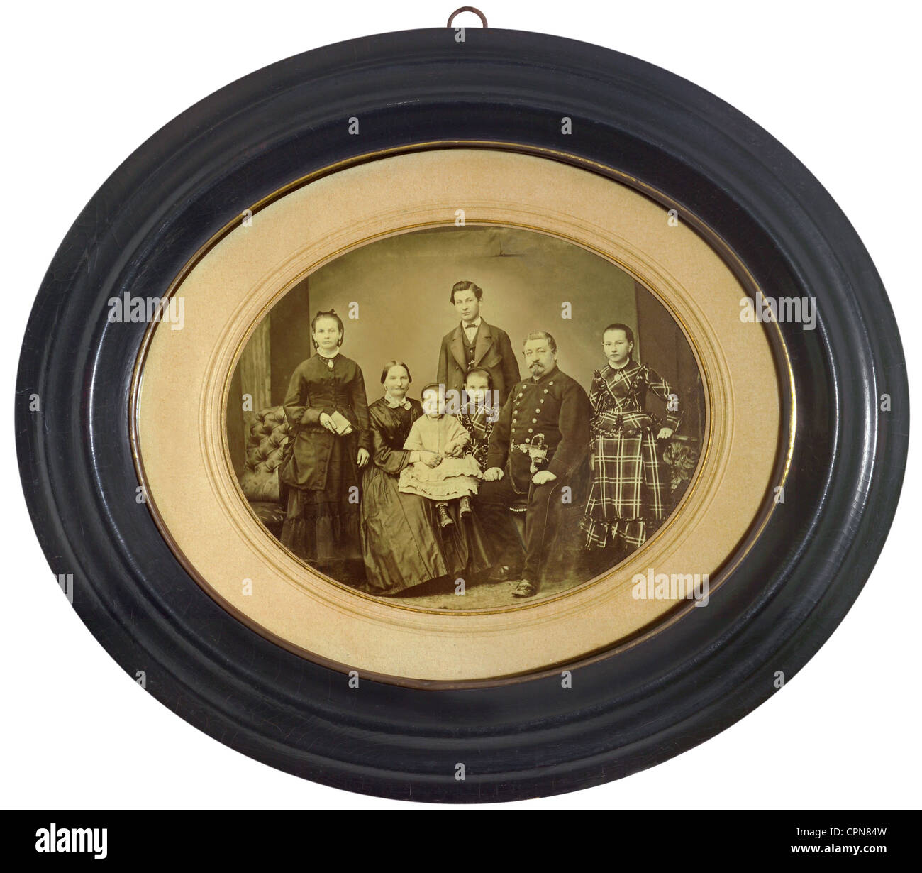 people, family, family of a cavalry captain, with five children, Germany, circa 1866, family picture, picture frame, - Stock Image