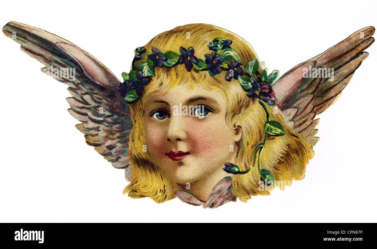 kitsch, angel, scrap-picture, lithograph, Germany, circa 1920, Additional-Rights-Clearences-NA - Stock Image