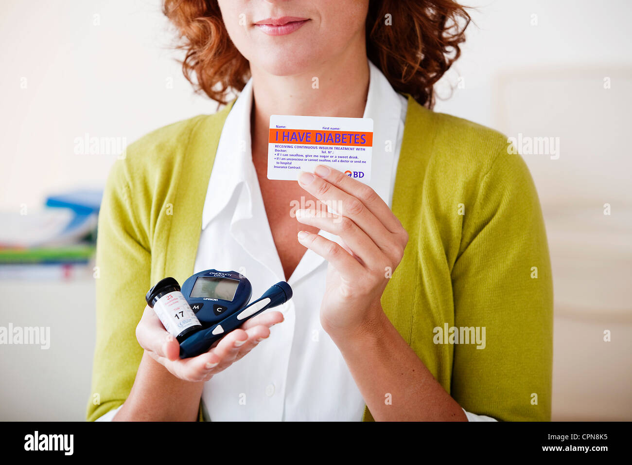TEST FOR DIABETES, WOMAN - Stock Image