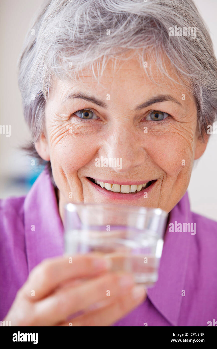 THIRSTY ELDERLY PERSON Stock Photo