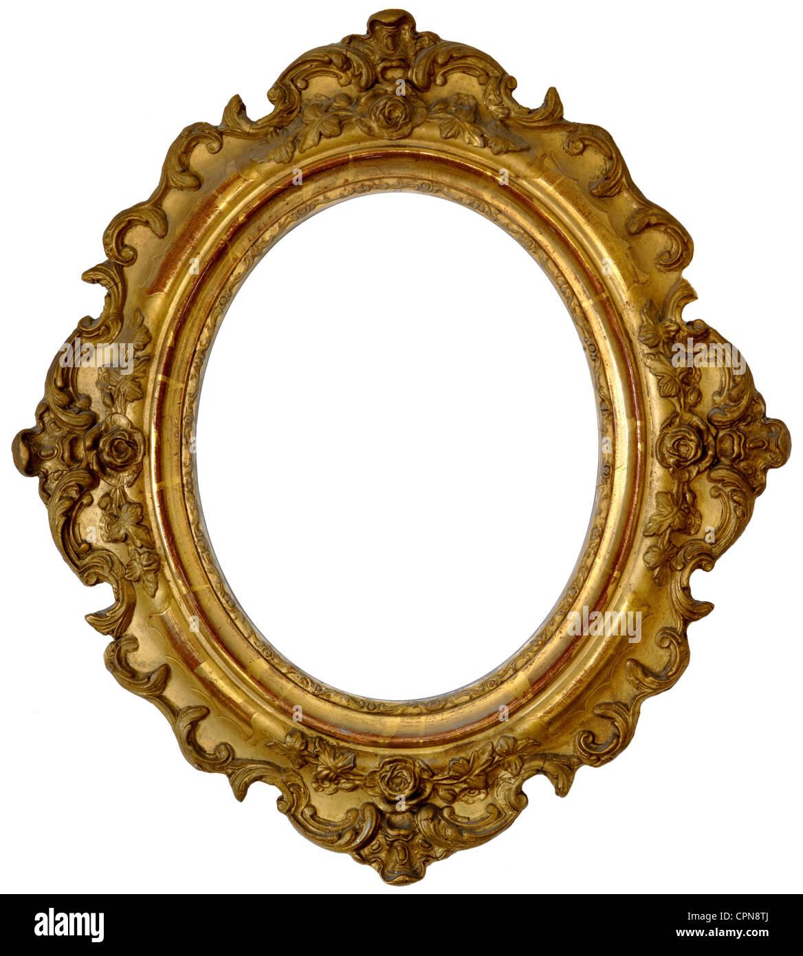 fine arts, picture frame, golden picture frame, oval, wooden frame ...