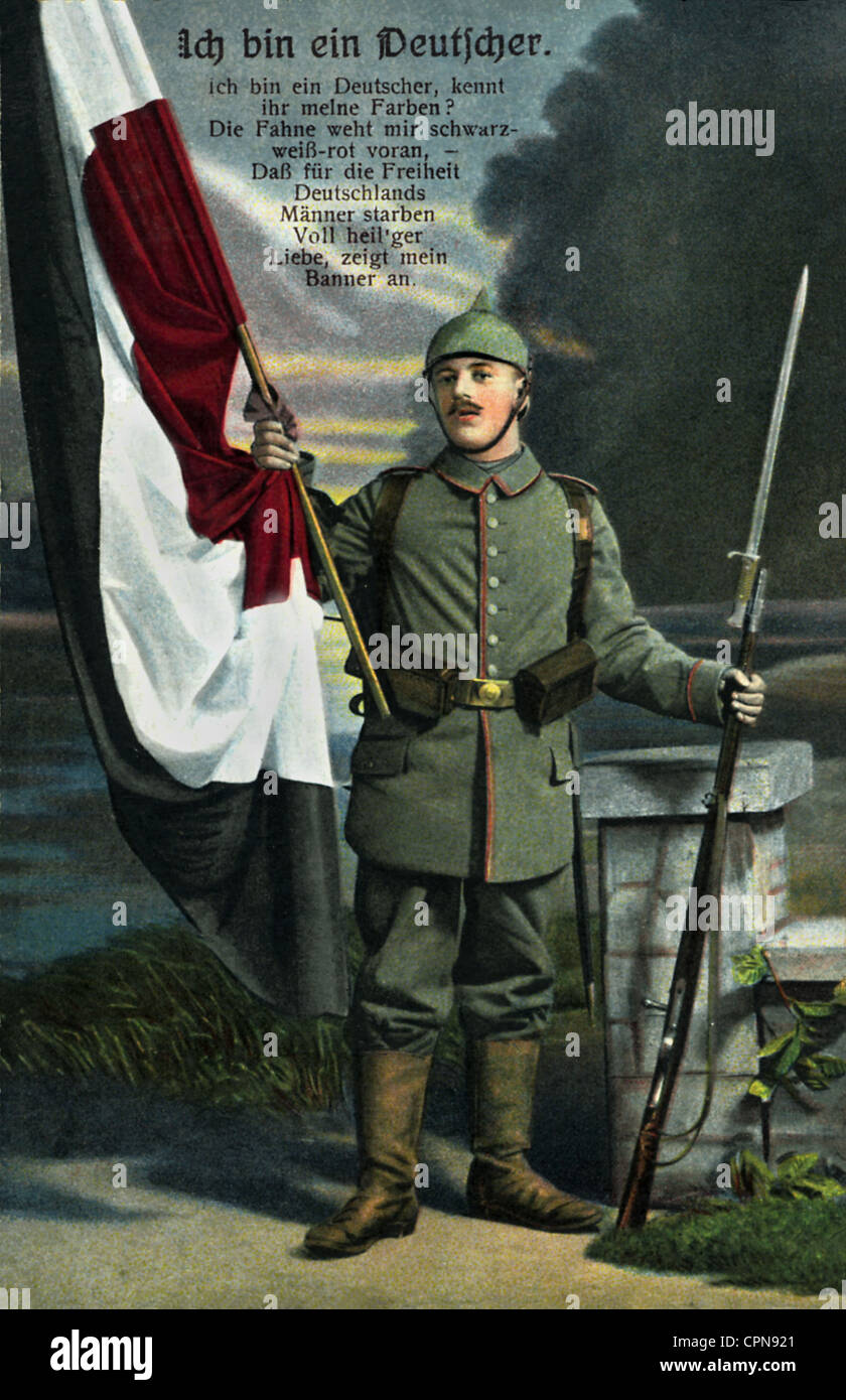 First World War / WWI, soldier, German flag in the colours black-white-red, saying 'Ich bin ein Deutscher' - Stock Image