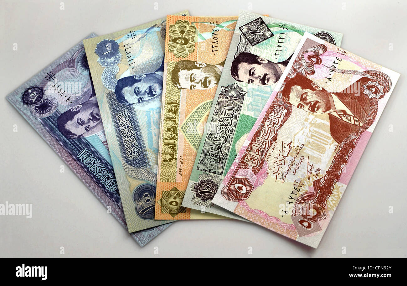 money / finances, banknote, Iraq, dinar, Iraqi banknote with the portrait of Saddam Hussein, currency, currencies, Stock Photo