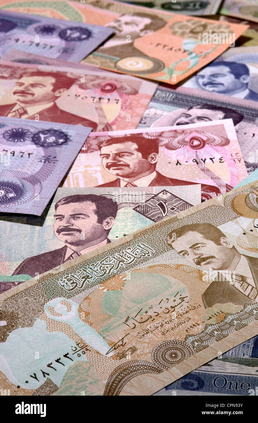 money, banknote, Iraq, dinar, Iraqi banknotes with the portrait of Saddam Hussein, currency, currencies, valuta, - Stock Image