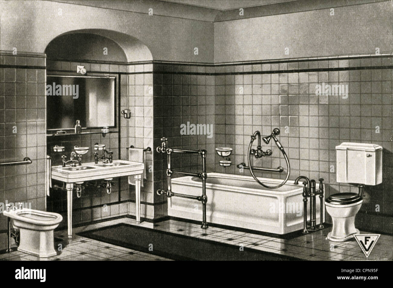 furnishings, bathroom, complete furnishings in a sample exhibition, sanitary furnishings by Robert Kutscher Company, Stock Photo