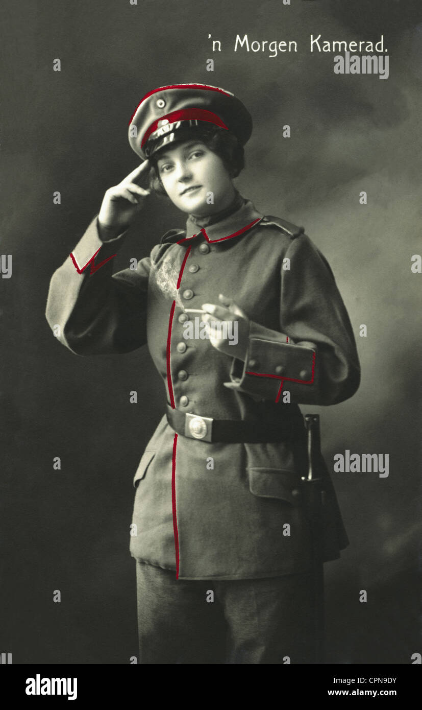 "First World War / WWI, soldiers, salutation: ""'n Morgen Kamerad"", woman in soldier's uniform, 1916, Additional-Rights Stock Photo"