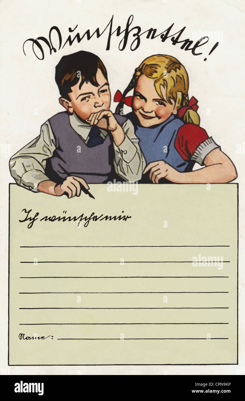 Christmas, list of wishes, Germany, circa 1932, Additional-Rights-Clearences-NA - Stock Image