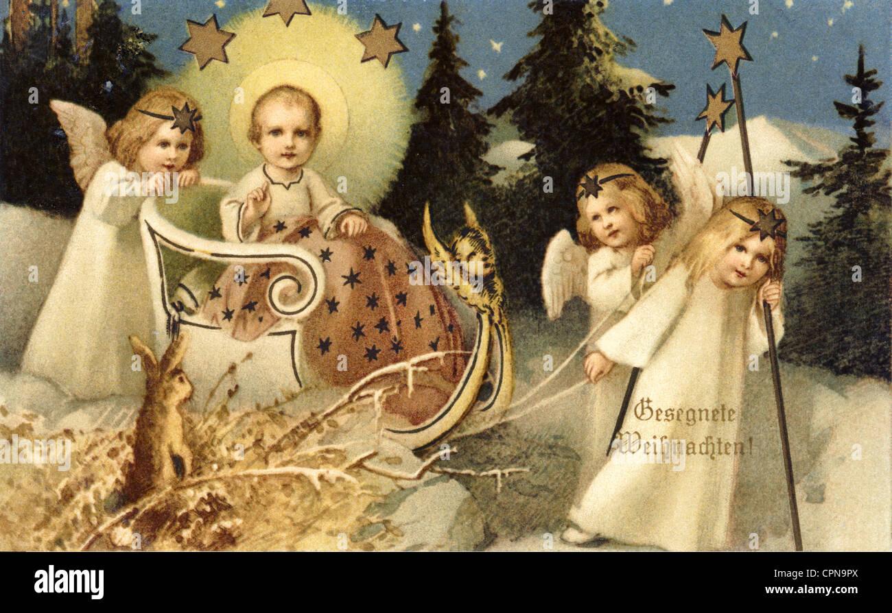 Christmas Blessed Christmas Christmas Card Baby Jesus On Sleigh