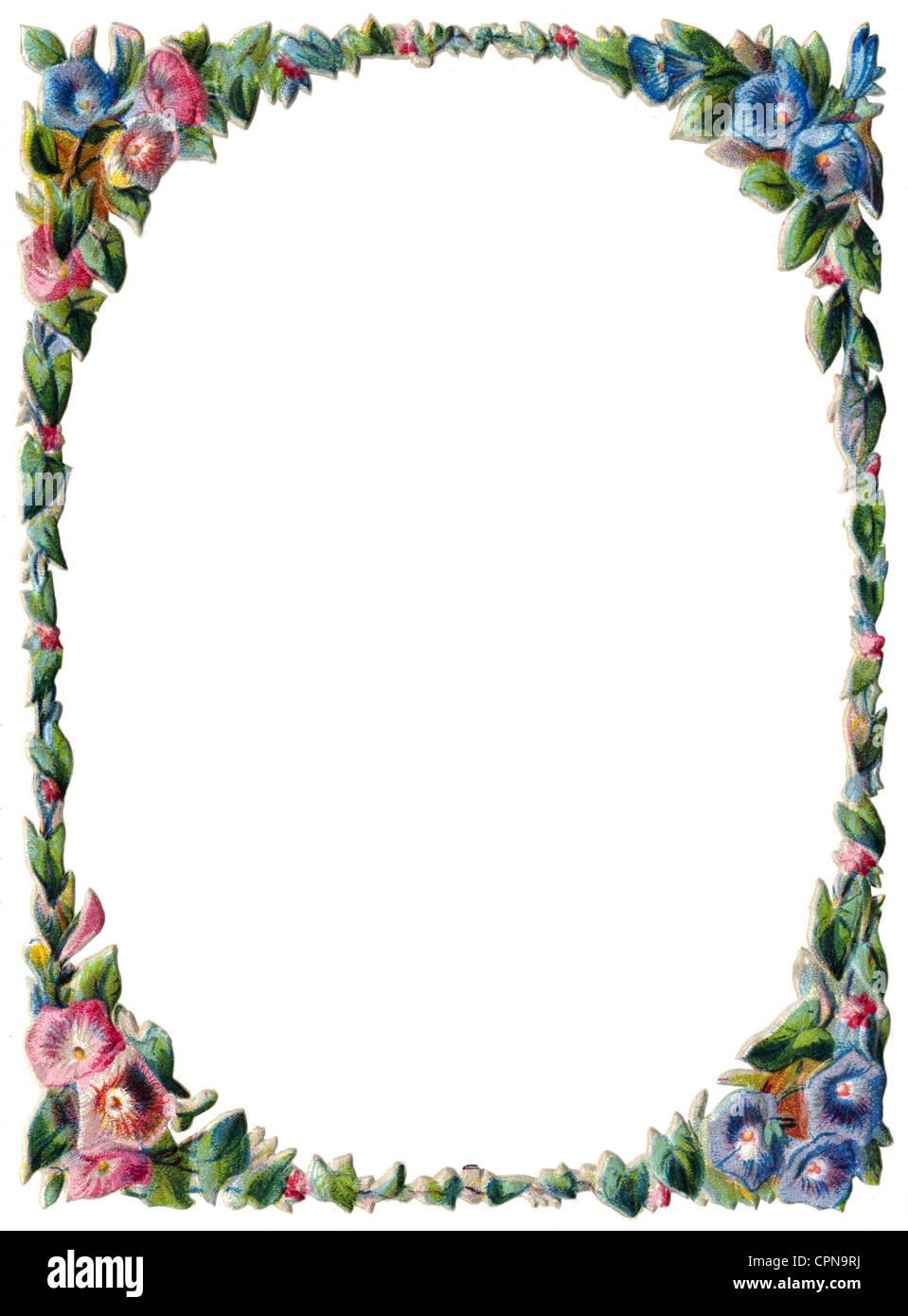 kitsch/cards/souvenir, flowers frame, scrap-picture, lithograph, Germany, 1880, Additional-Rights-Clearences-NA - Stock Image