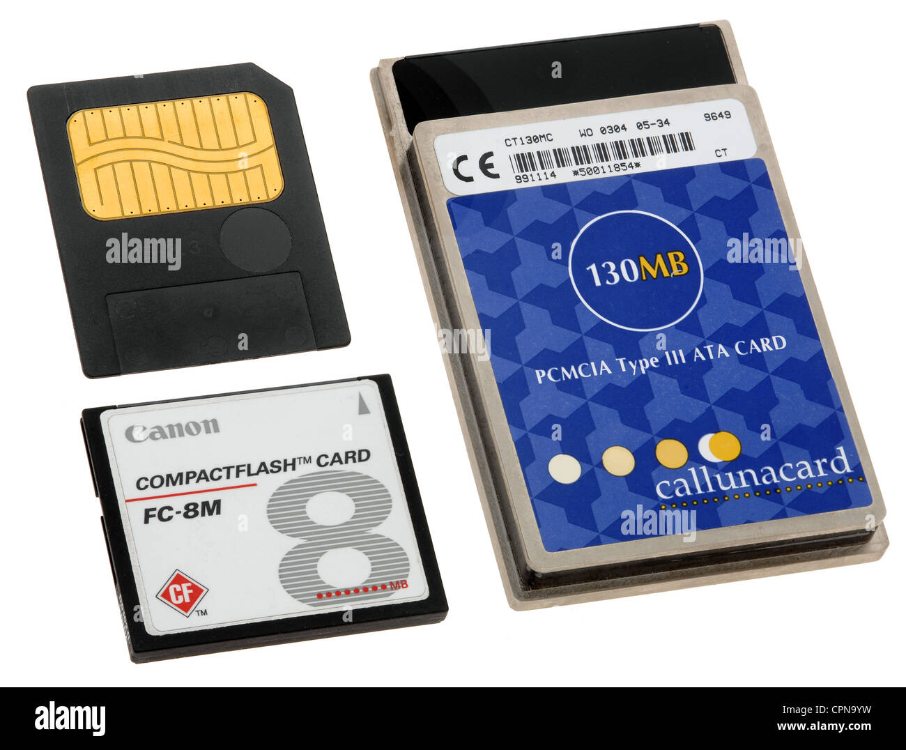 computing / electronics, memory card, the first memory cards for digital camera, Compactflash, made by Canon, PCMCIA - Stock Image