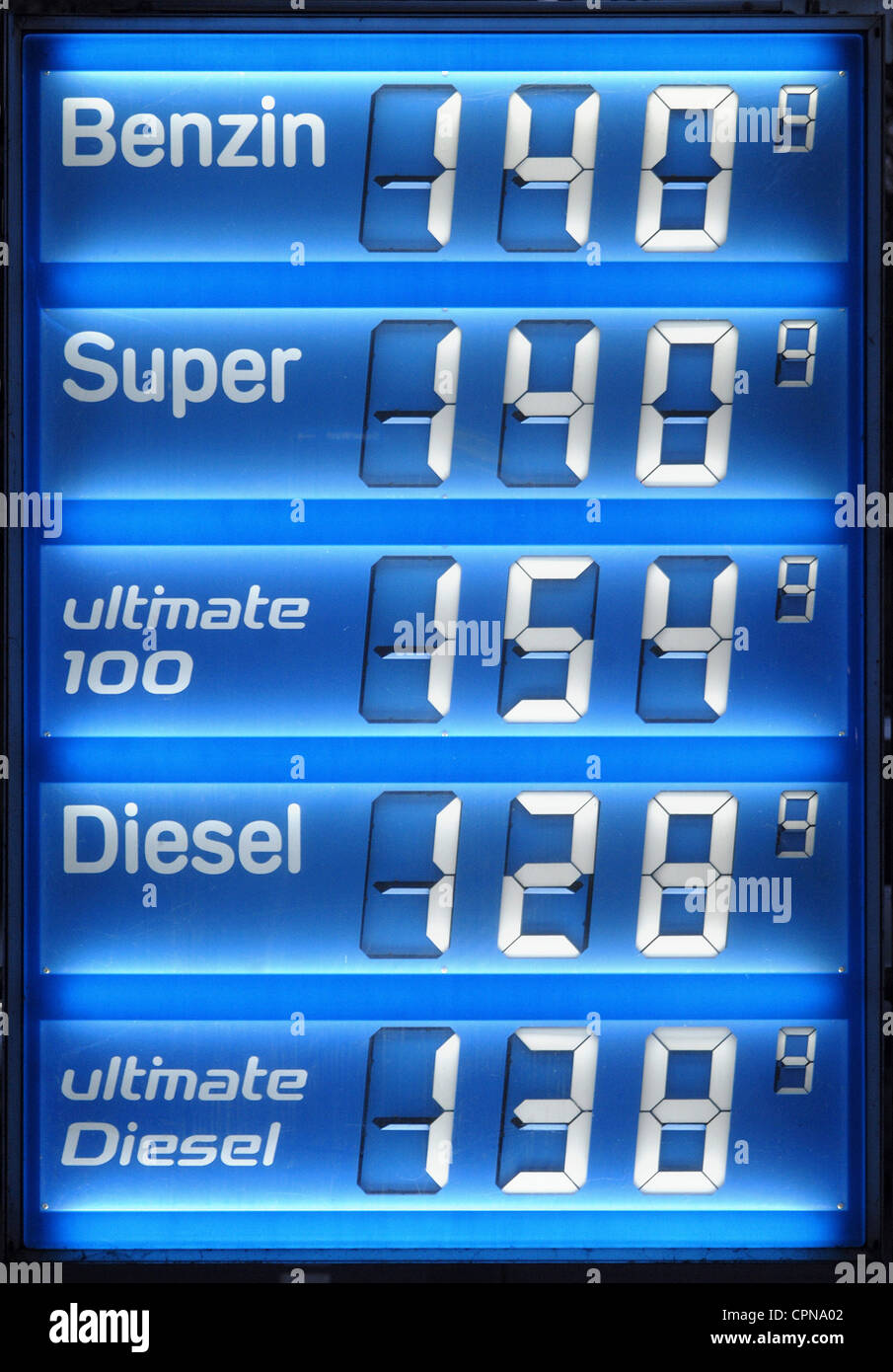 transport / transportation, car, petrol station, display with petrol prices, Germany, 2007, Additional-Rights-Clearences Stock Photo