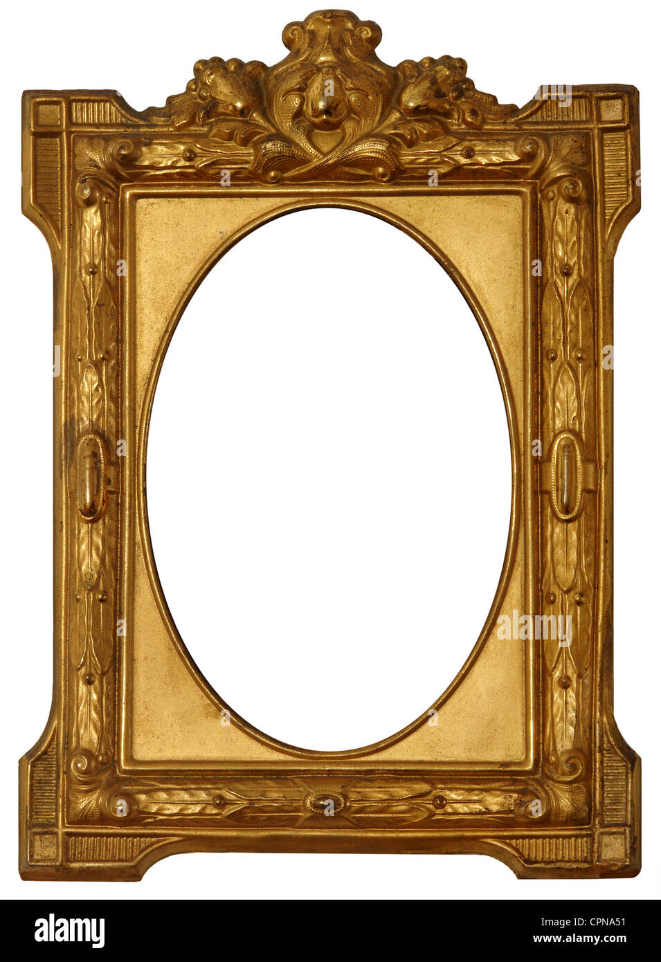 fine arts, picture frame, wrought brass, Germany, circa 1870, golden ...