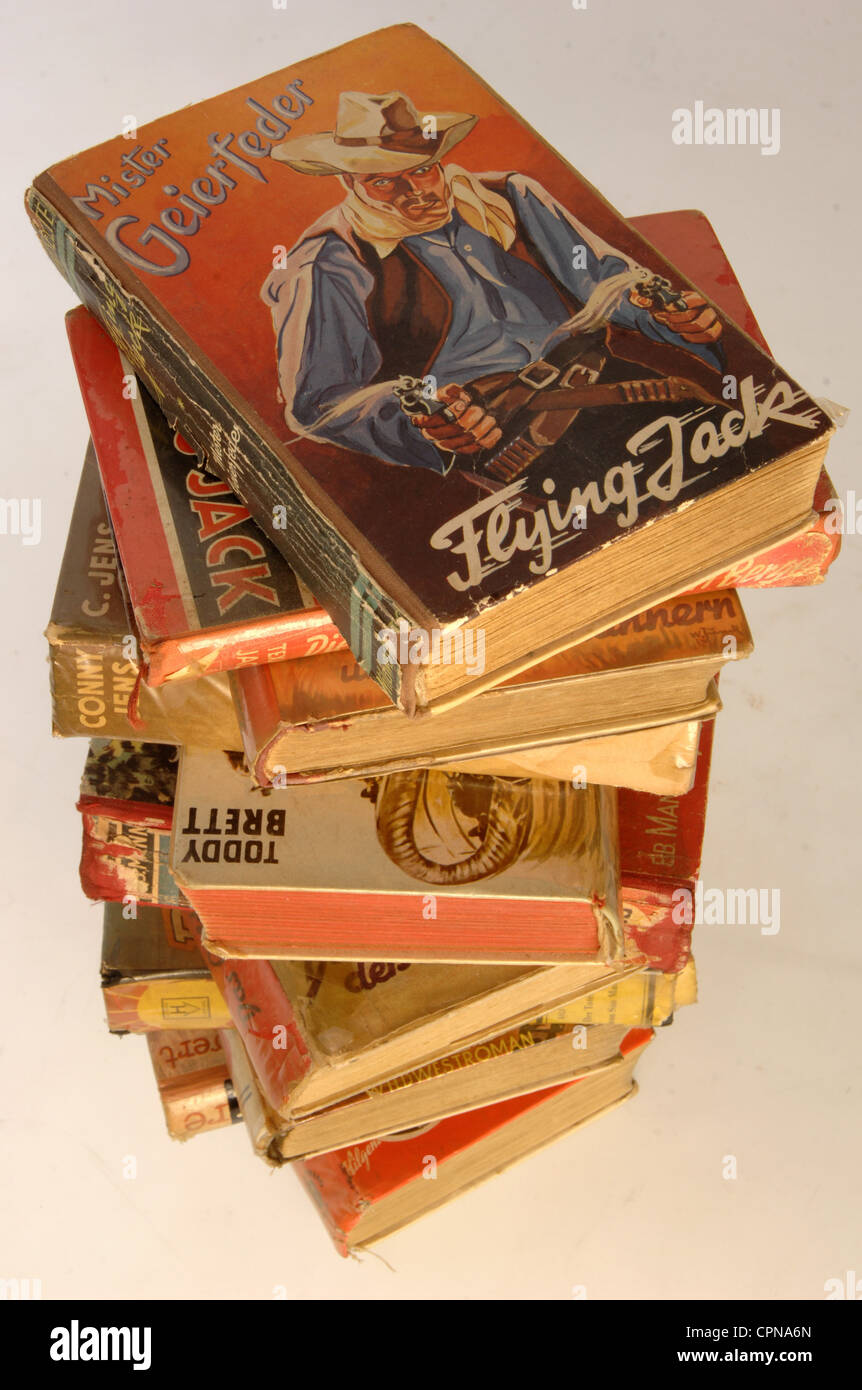 literature, book, Mister Geierfeder: 'Flying Jack' from 1952, pile of books, Additional-Rights-Clearences - Stock Image
