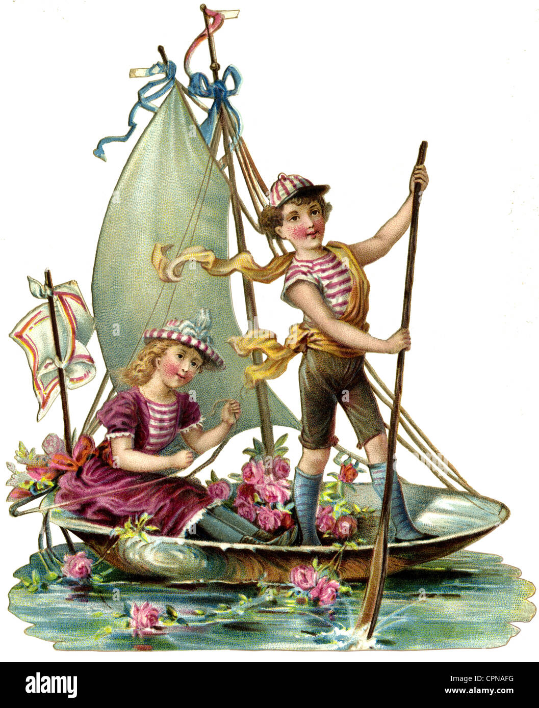 kitsch, love couple in sailing boat, scraps, lithograph, Germany, 1893, Additional-Rights-Clearences-NA - Stock Image