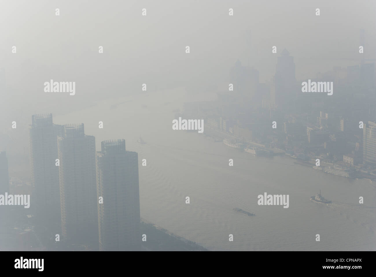 Smoggy aerial view of Shanghai, China Stock Photo