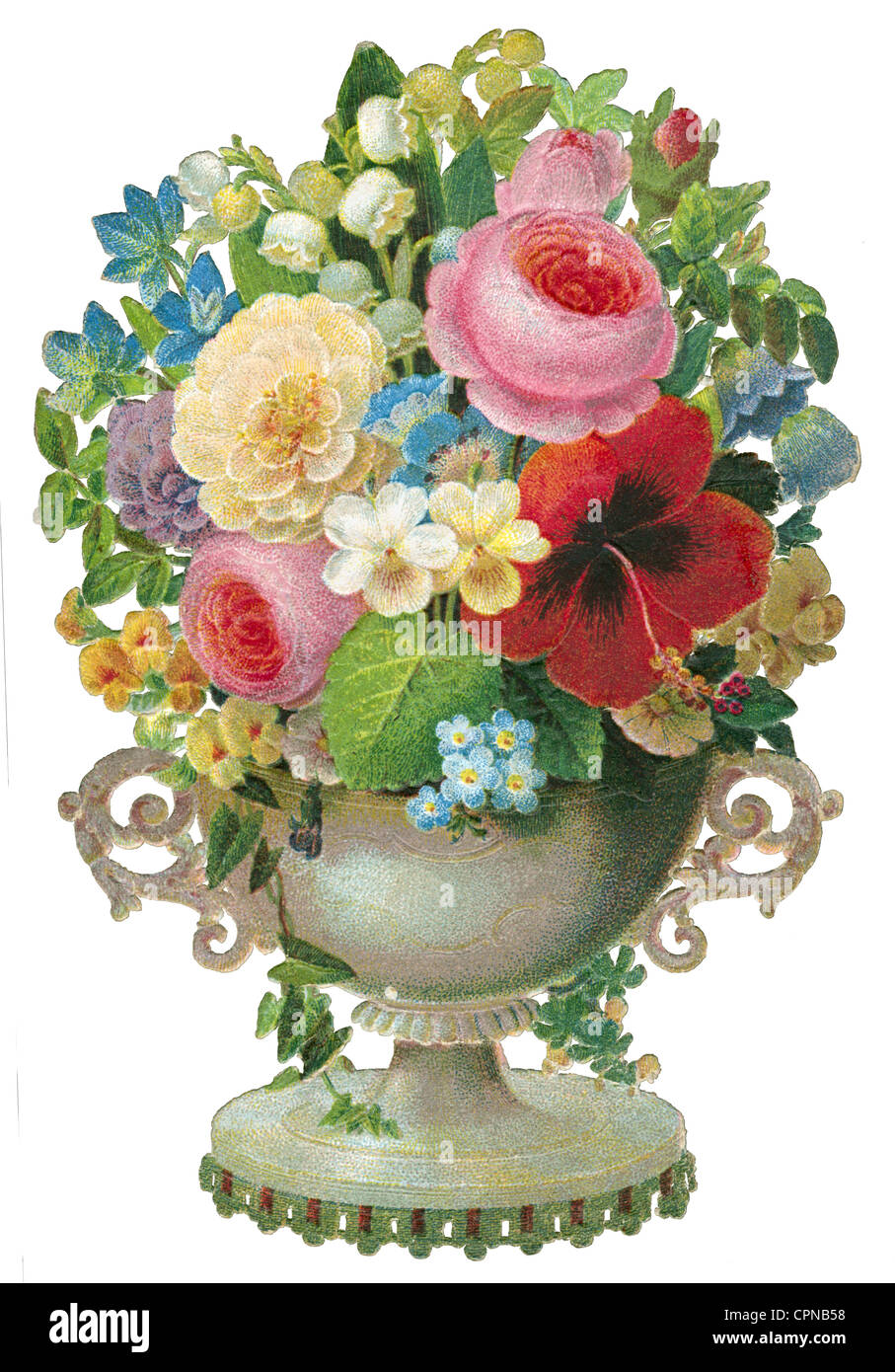 kitsch/cards/souvenir, flower vase, scrap-picture, Germany, 1863, Additional-Rights-Clearences-NA - Stock Image