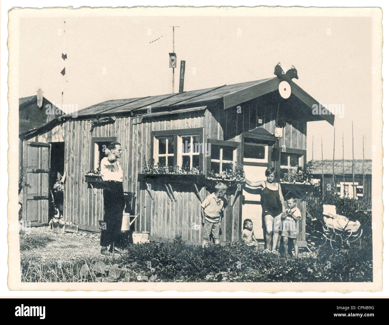 leisure time, family in allotment garden, Germany, circa 1930, Additional-Rights-Clearences-NA Stock Photo