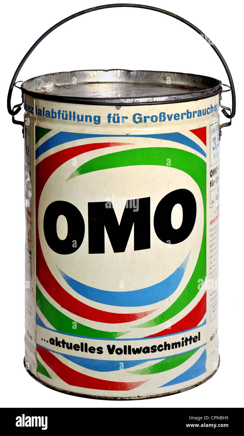 household, washing powder, Omo, volume enough for circa 90 kilogram dry laundry, Germany, 1957, Additional-Rights - Stock Image