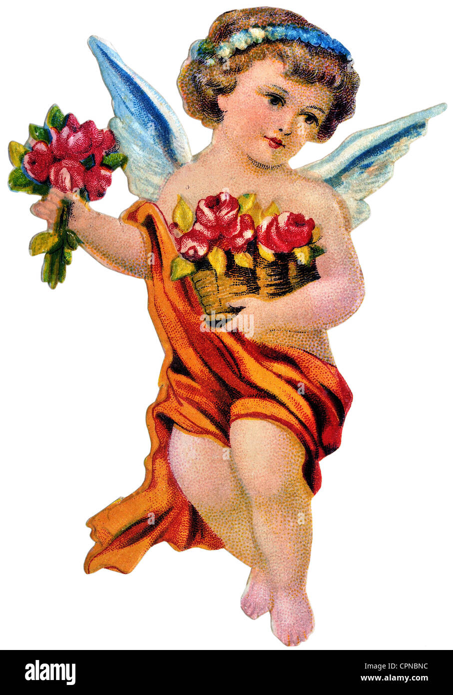 kitsch, angel, little angel with flowers, scrap-picture, Germany, circa 1900, Additional-Rights-Clearences-NA - Stock Image