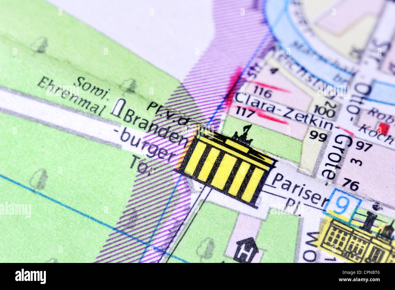 Map Of Germany 1980.Cartography City Map Berlin Detail Brandenburg Gate Pariser