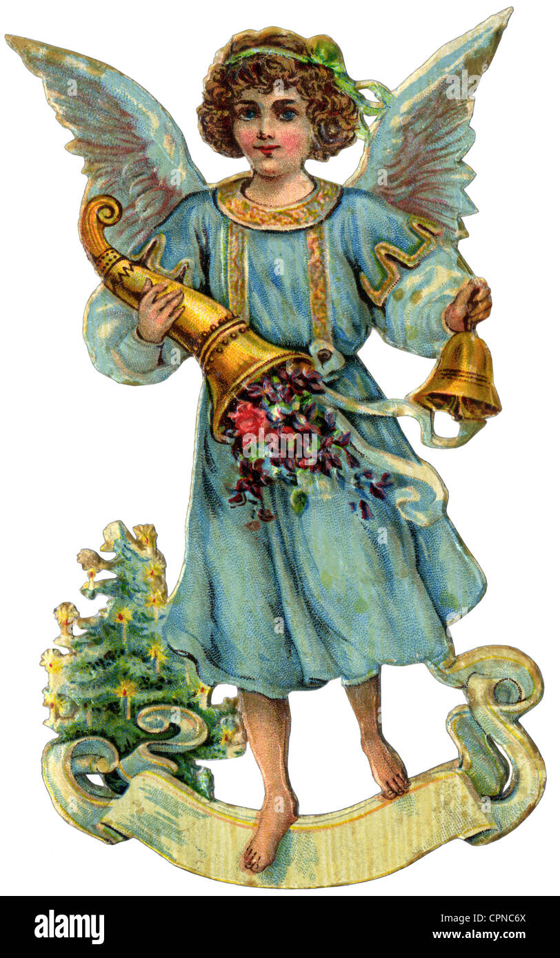 Christmas, Christmas angel with cornucopia, scrap-picture, lithograph, Germany, 1910, Additional-Rights-Clearences - Stock Image