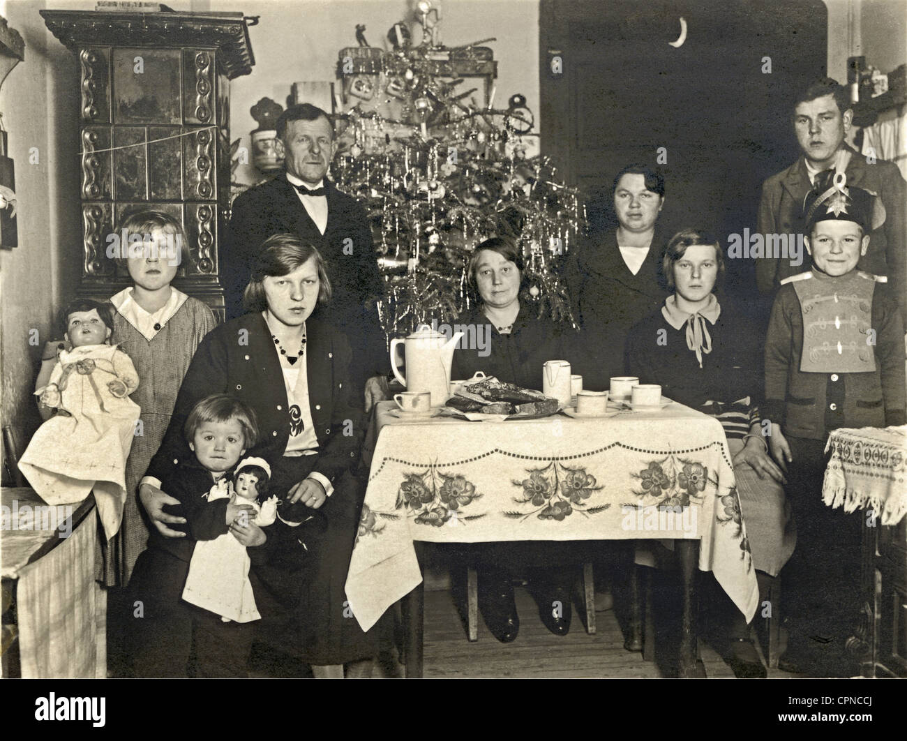 Christmas, family, celebrating together, Germany, circa 1932, parents, parent, married couple, married couples, - Stock Image