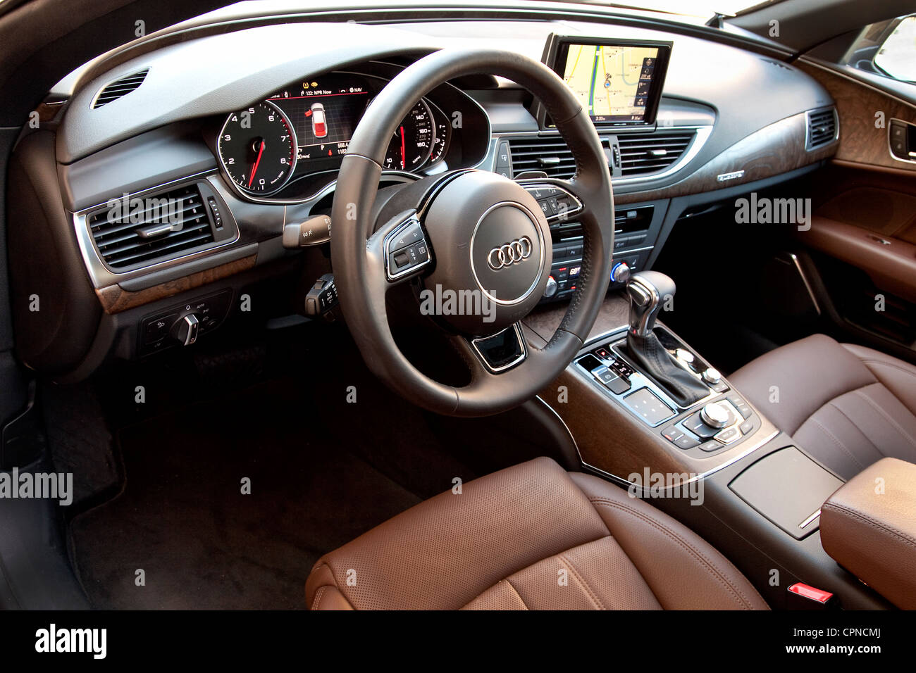 Audi A7  front of car interior - Stock Image