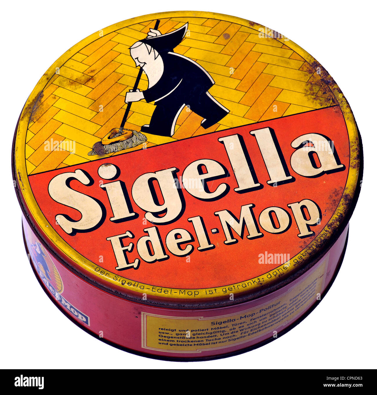 household, homewares, Sigella Edel-Mop, tin, made by: Sidol-Werke, Siegel & Co, Cologne, Germany, circa 1929, - Stock Image
