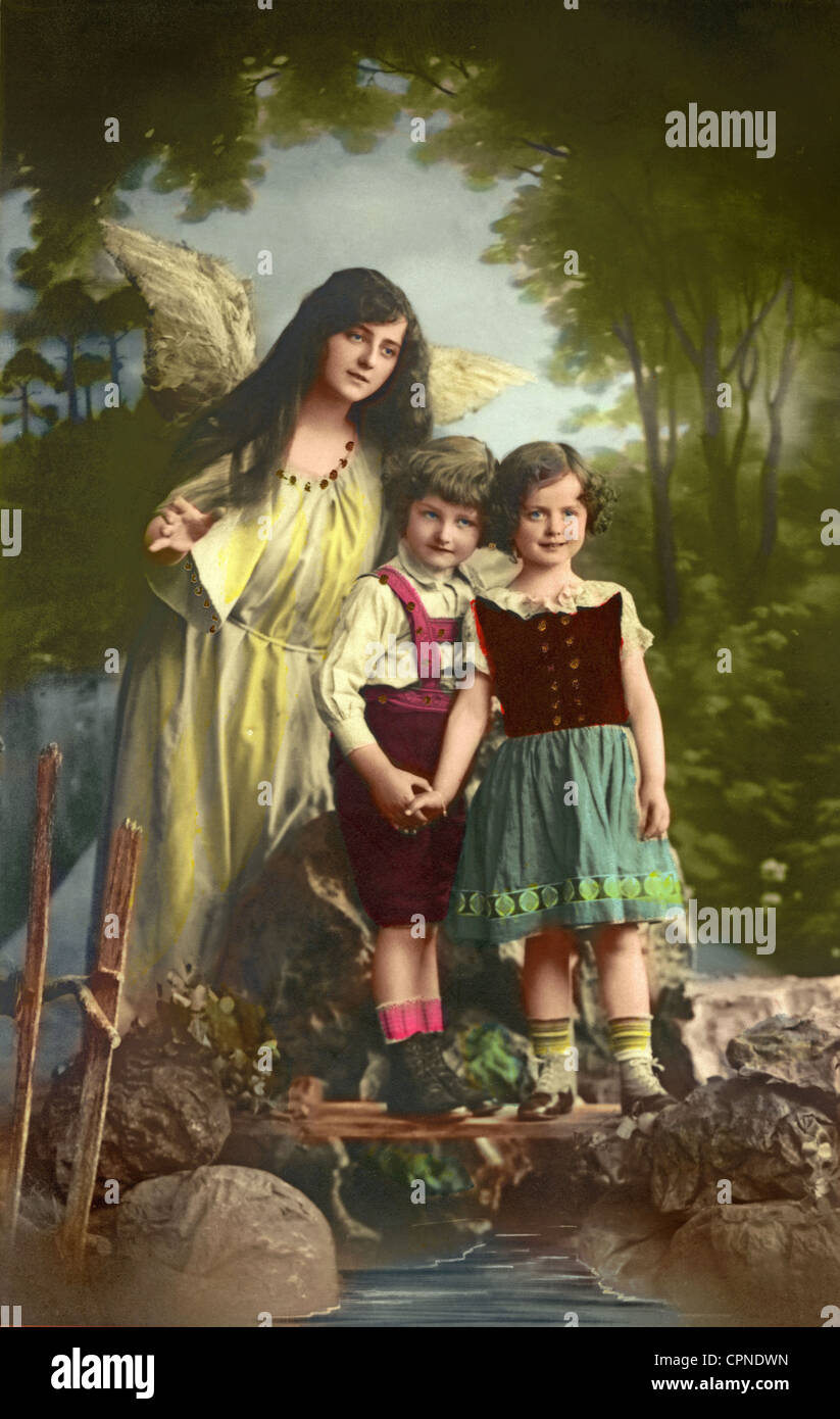 Kitsch Guardian Angel Guarding Children Postcard Germany Circa