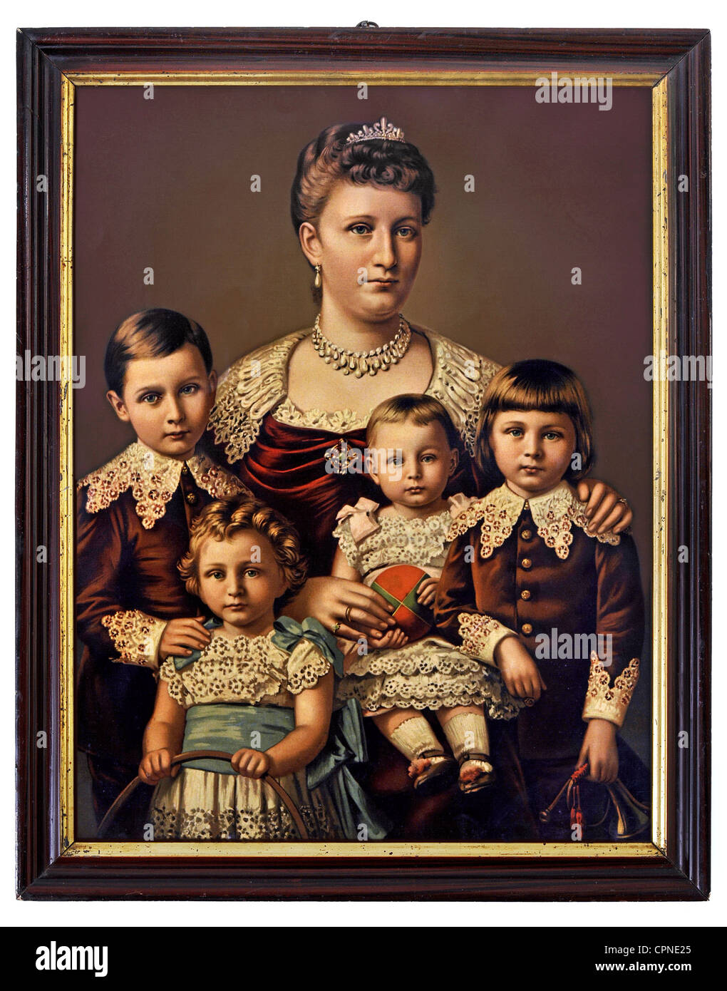 Empress Auguste Viktoria (1858 - 1921), wife of emperor William II, half length, with four of her seven children, from left: Crown Prince William (1882 - 1951), Prince Joachim (1890 - 1920), princess Viktoria-Luise (1892 - 1980), prince August Wilhelm (1887 - 1949), Germany, 1893, Stock Photo