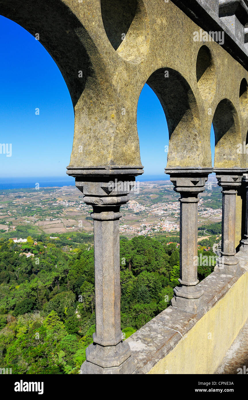 Arabian style arches of a terrace in the Pena palace in Sintra, Portugal - Stock Image