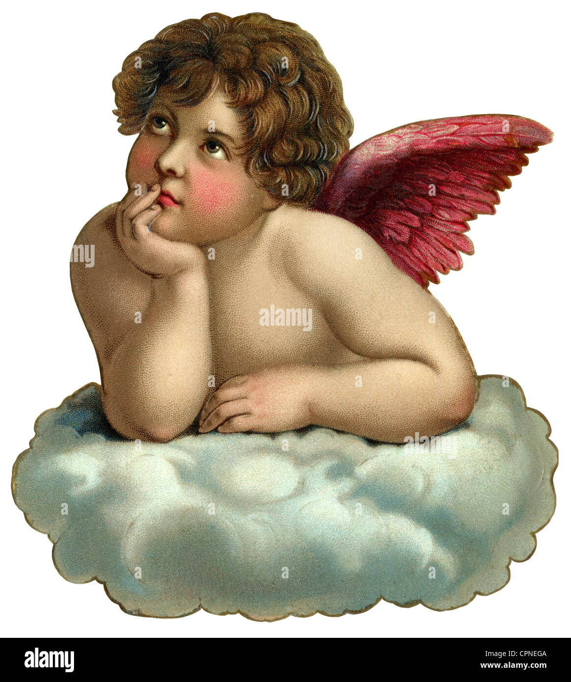 kitsch, angel, little angel on cloud, scrap-picture, Germany, circa 1900, Additional-Rights-Clearences-NA - Stock Image