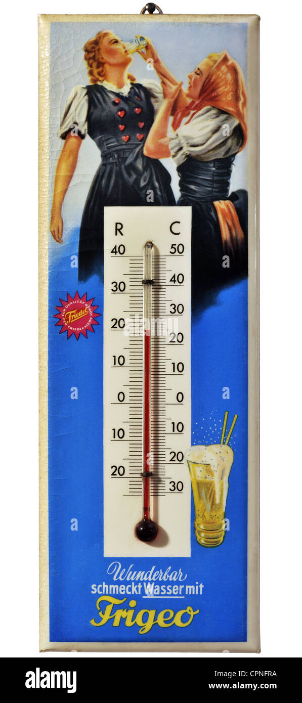 advertising, food, beverages manufacturer Frigeo, thermometer, Germany, circa 1955, Additional-Rights-Clearences - Stock Image