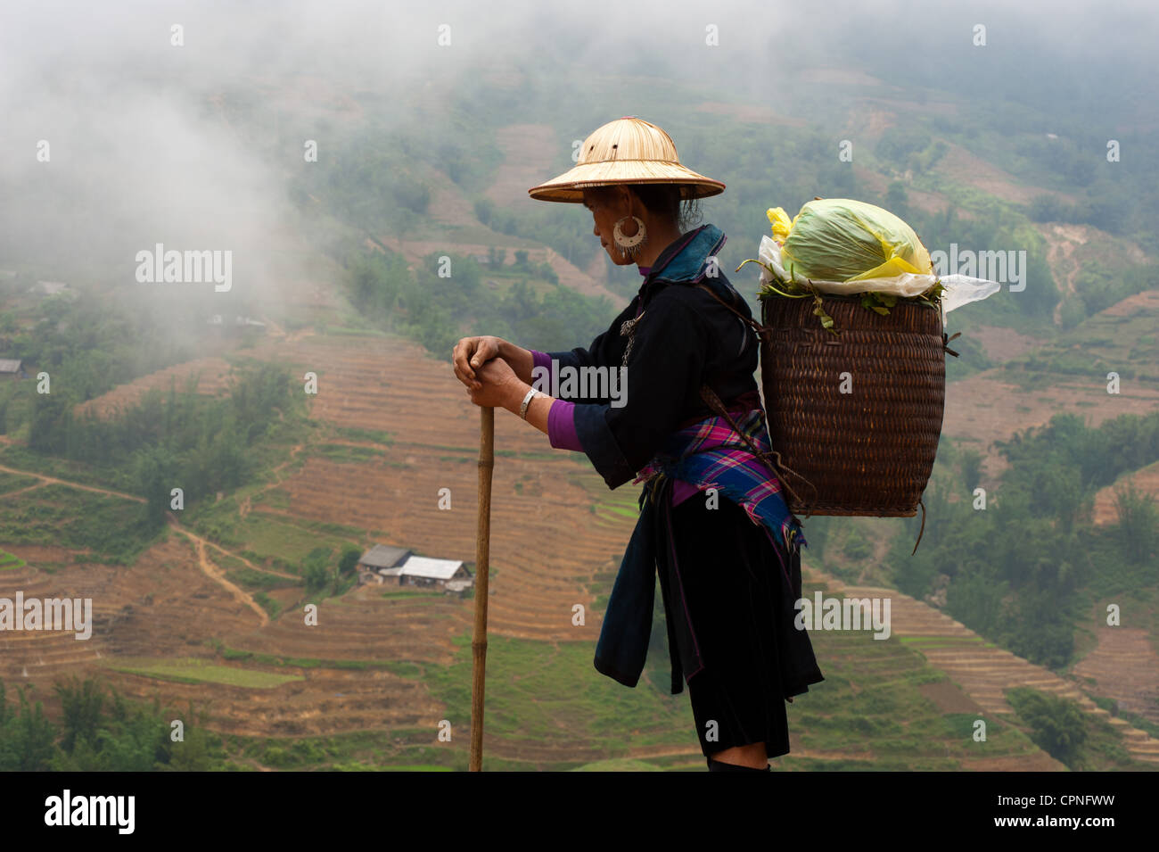 Black H'Mong in a misty Sapa - Stock Image