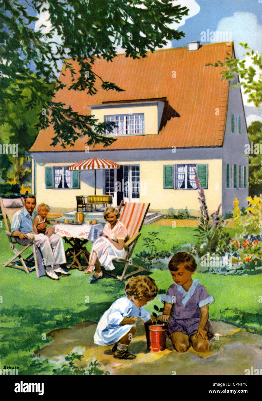 habitation, home, family, playing children, in garden, Germany, circa 1932, Additional-Rights-Clearences-Not Available Stock Photo