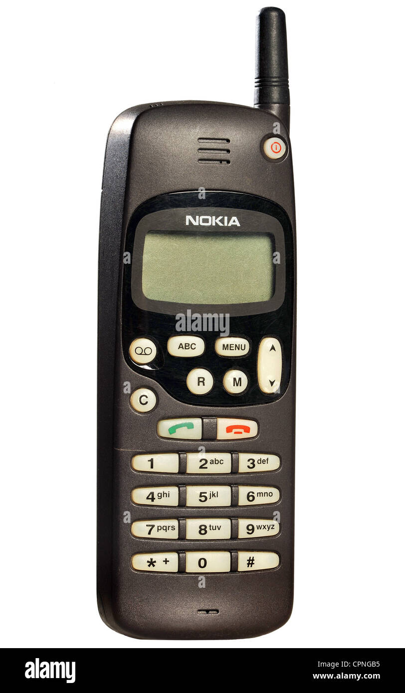 technics, telecommunications, mobile phone Nokia 1610, weight: 260 g, Germany, 1996, Nokia mobile, D cell coverage, - Stock Image
