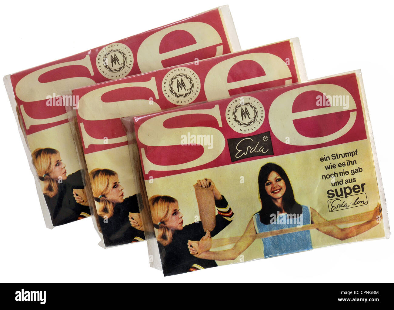 textiles, ladies' stockings, 3 packages, boxed as new, made by: Esda, stocking with 100% polyamide, advertised - Stock Image