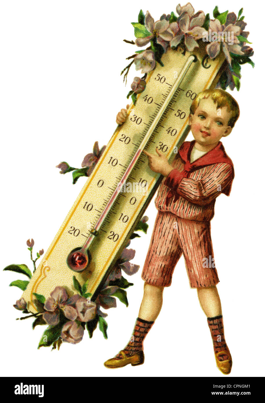kitsch / souvenir, boy with thermometer, Germany, circa 1914, Additional-Rights-Clearences-NA - Stock Image