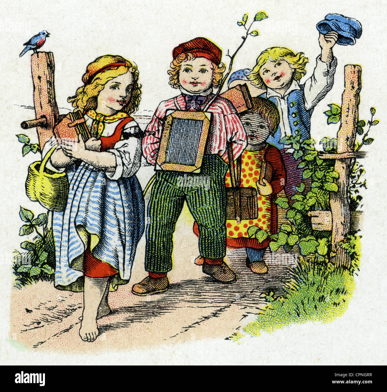 pedagogy, school, children on the way to school, Germany, circa 1860, Additional-Rights-Clearences-NA - Stock Image