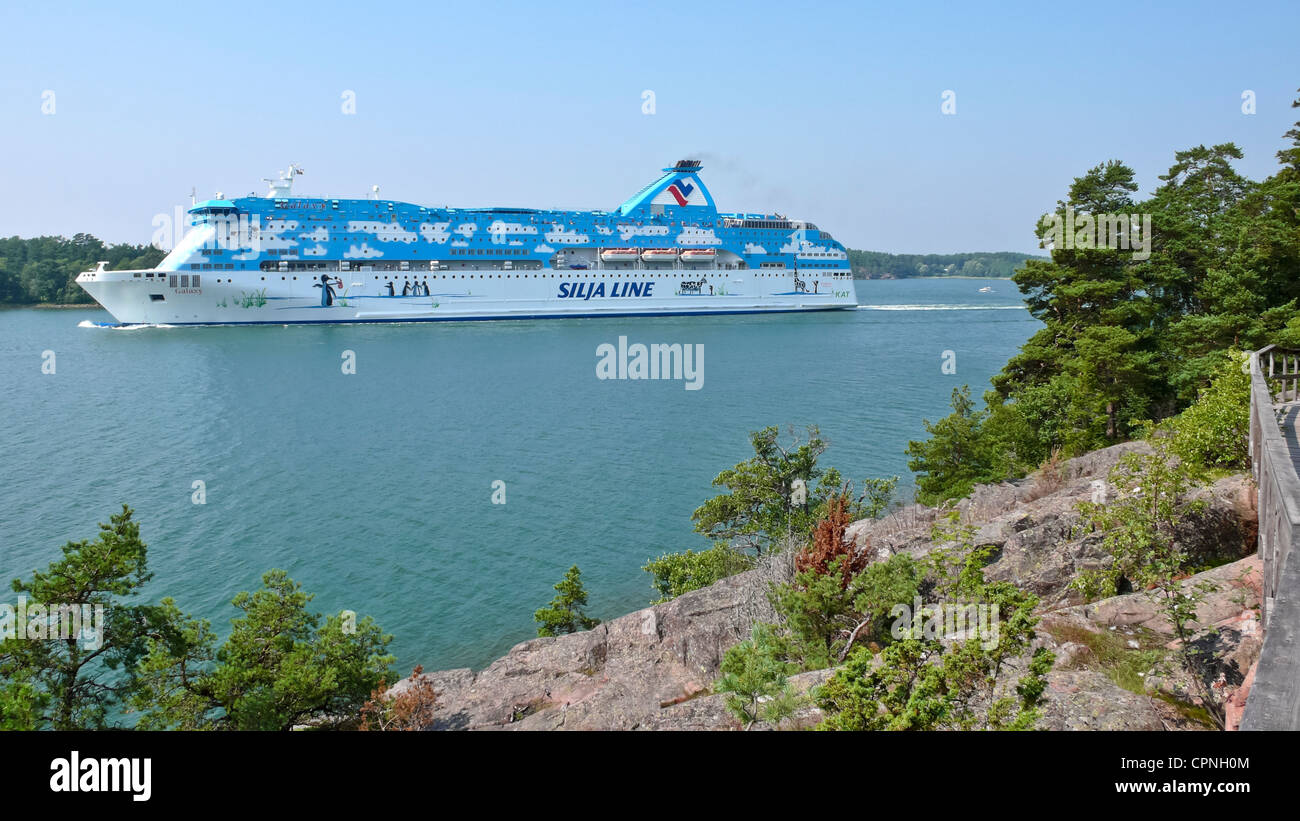 Tallink Silja Line car and passenger ferry Galaxy leaving Mariemamn in the Aaland Islands Finland - Stock Image