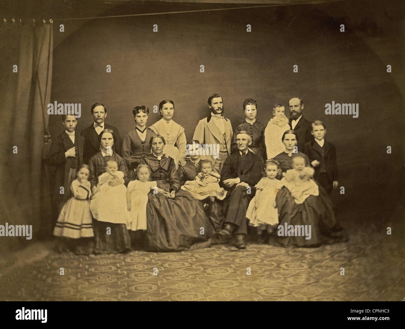 people, family, three generations, group picture, studio shot, Germany, circa 1870, Additional-Rights-Clearences - Stock Image