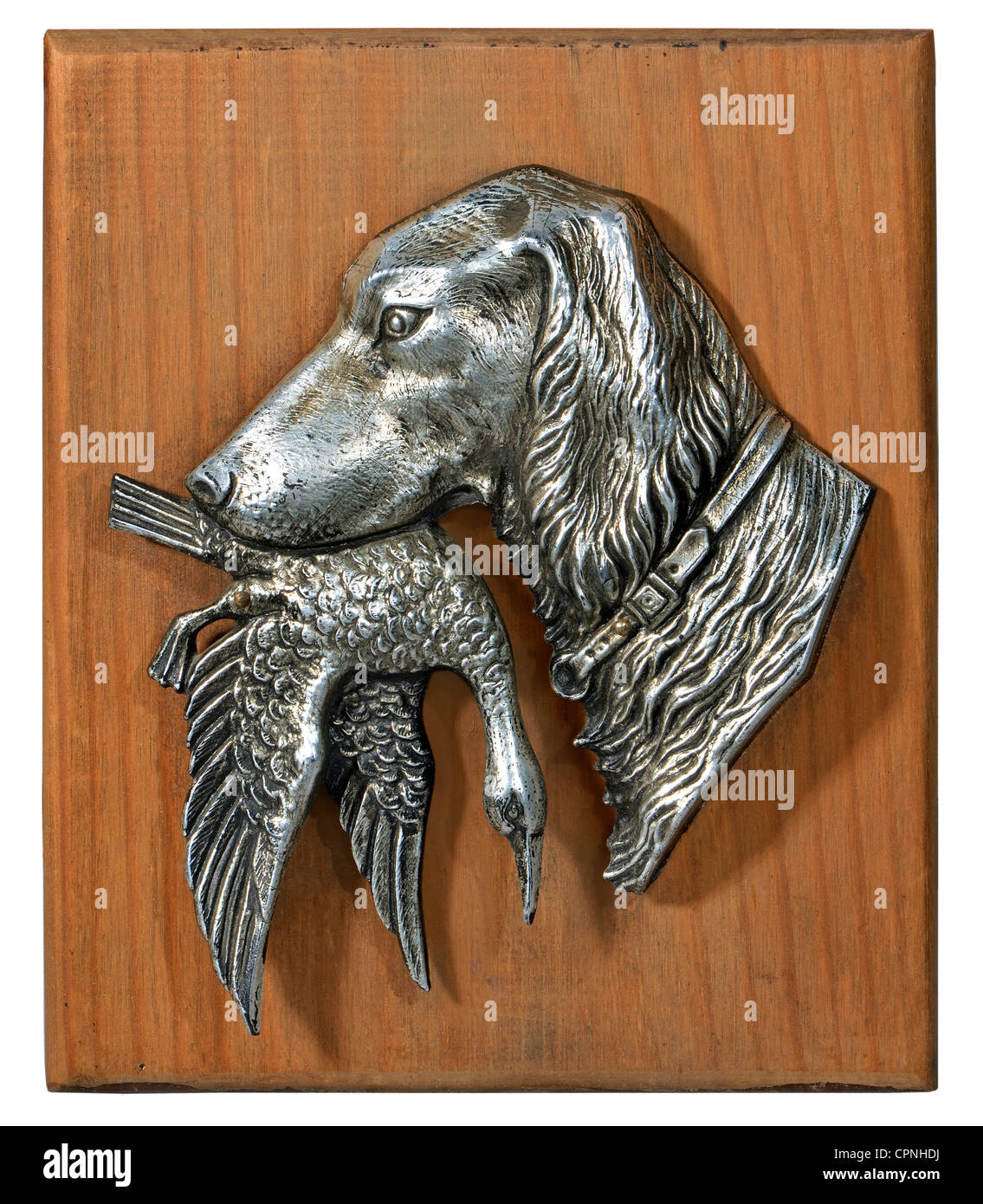 hunt, hunting dog with prey, tin on panel, picture on the wall, Germany, circa 1930, Additional-Rights-Clearences - Stock Image