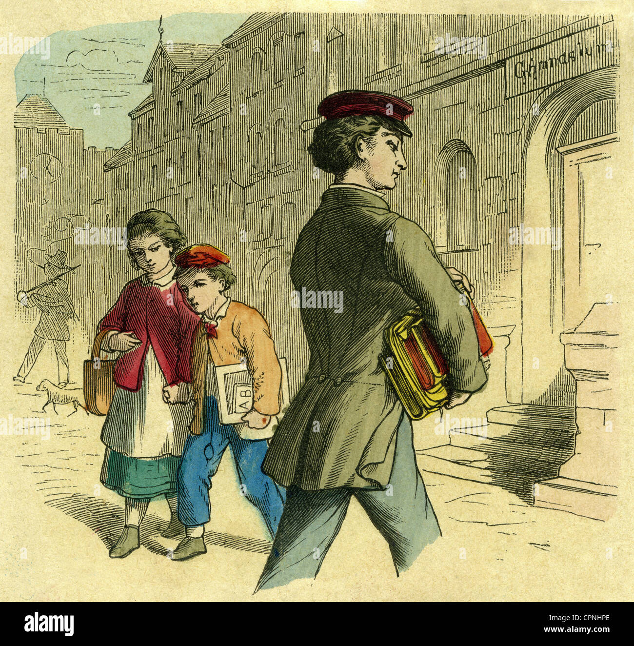 pedagogy, school, pupil going to the secondary school, coloured wood engraving, Germany, circa 1850, Additional - Stock Image
