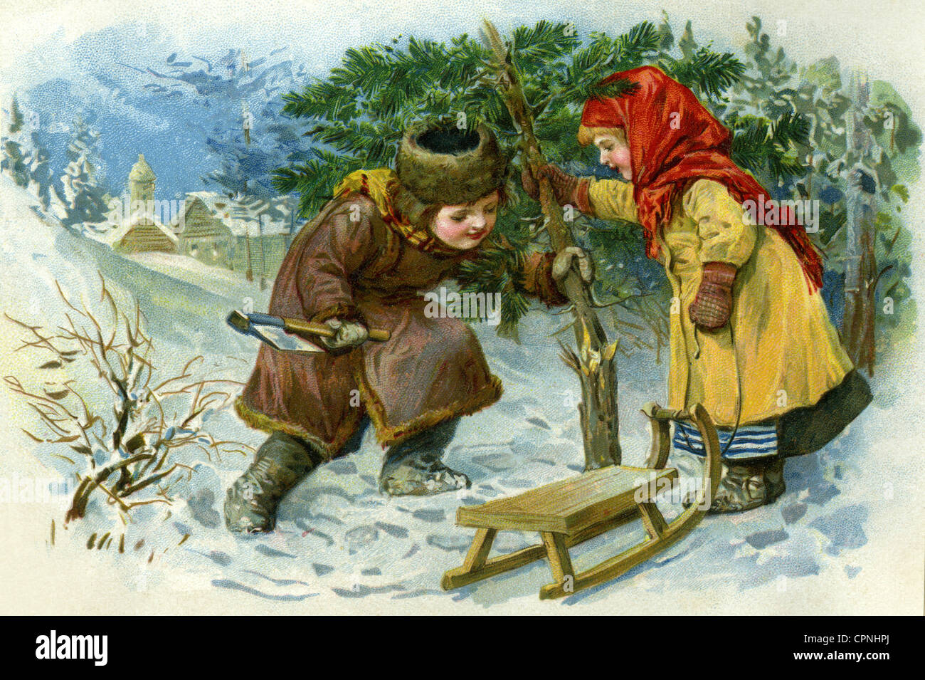 Christmas, Christmas tree, children cutting Christmas tree, scrap picture, lithograph, Germany, circa 1890, Additional - Stock Image