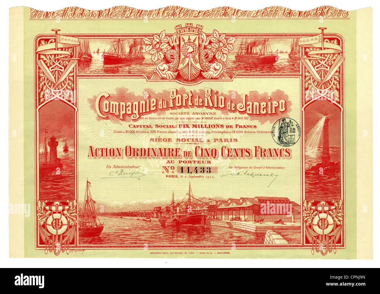 money / finances, share, share of the Compagnie du Port de Rio de Janeiro, about 500 franc, Rio de Janeiro, office - Stock Image