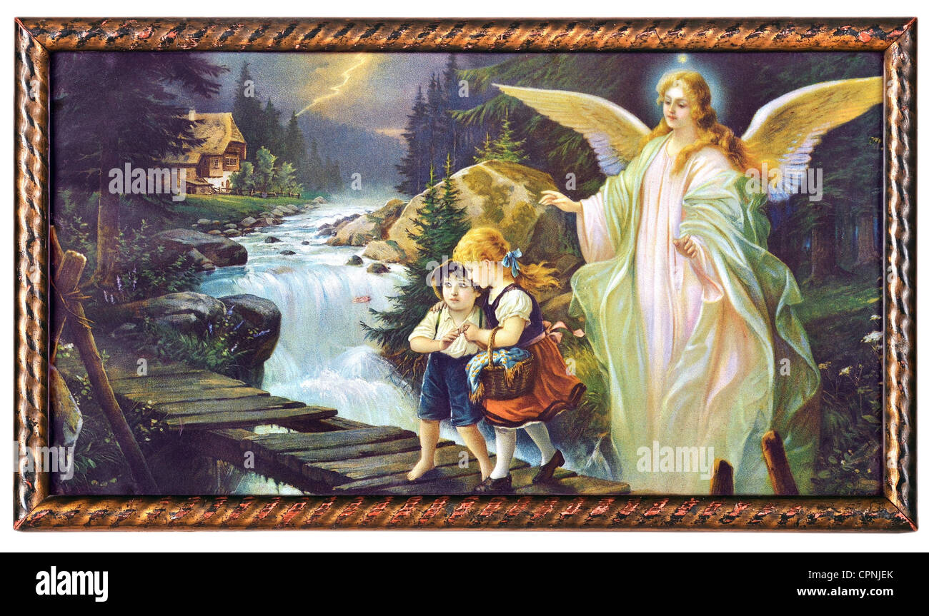 Religion Christianity Angel Guardian Angel Protecting Child Stock