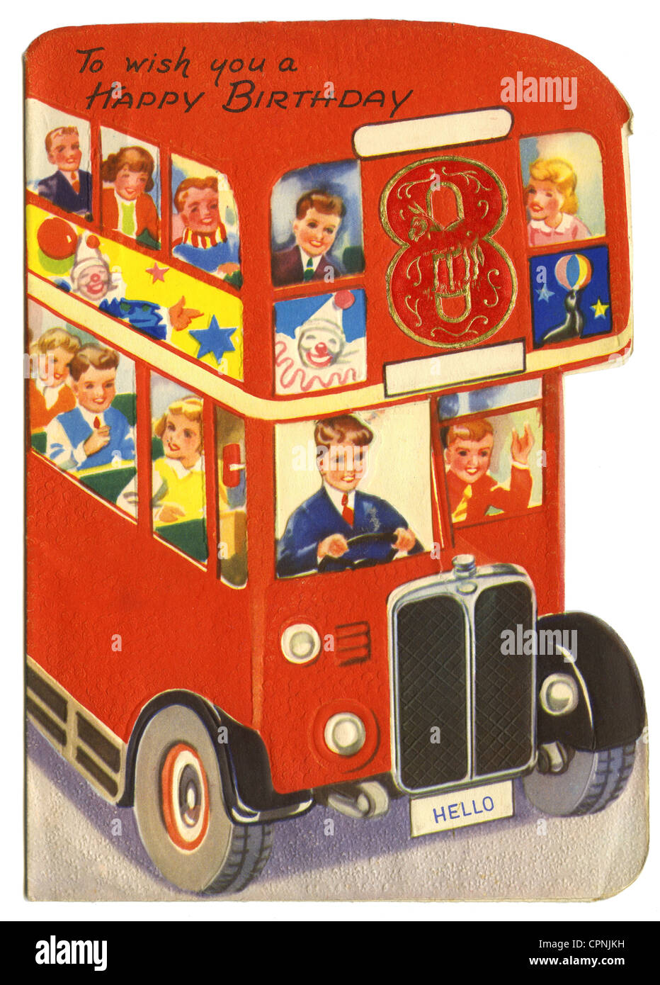 Kitsch Cards Souvenir To Wish You A Happy Birthday Card The 8th Double Deck Bus Children Great Britain Circa 1947