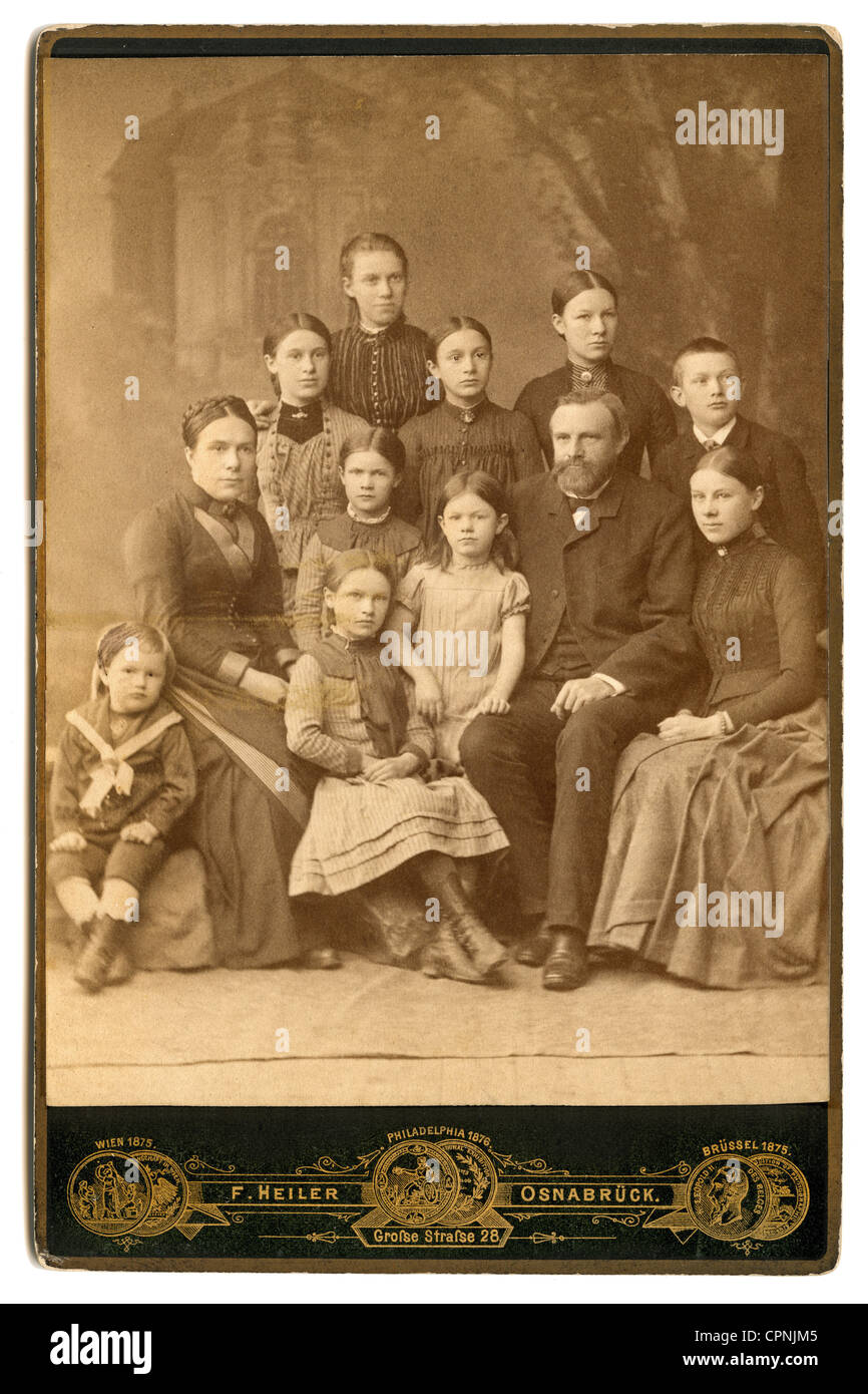 people, family, family with many children from Osnabrueck, group picture, Germany, circa 1880, extended family, - Stock Image