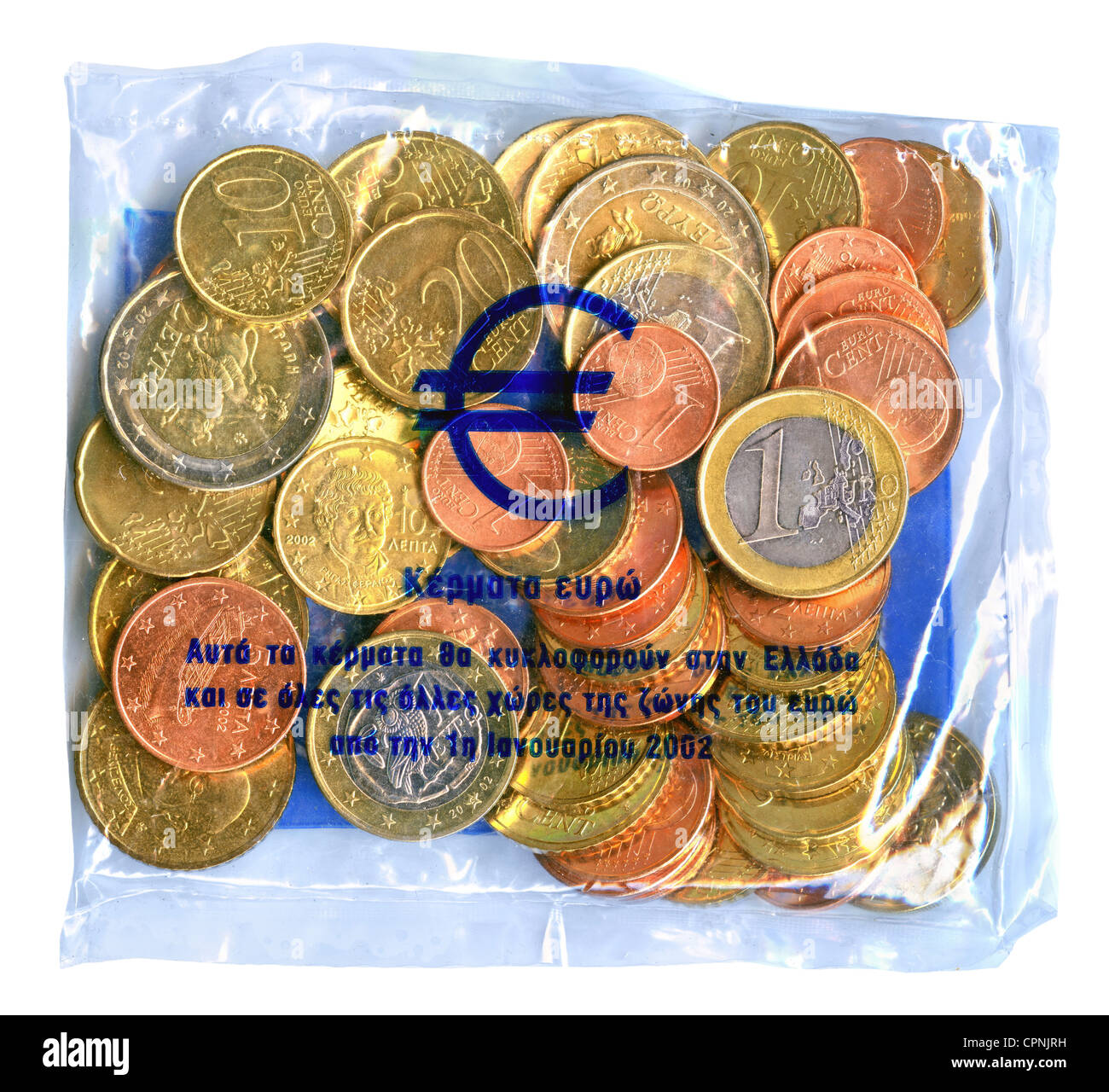 money / finances, coins, Greece, Euro Starterkit Greece, starter kit launched by the banks in the December 2001, - Stock Image