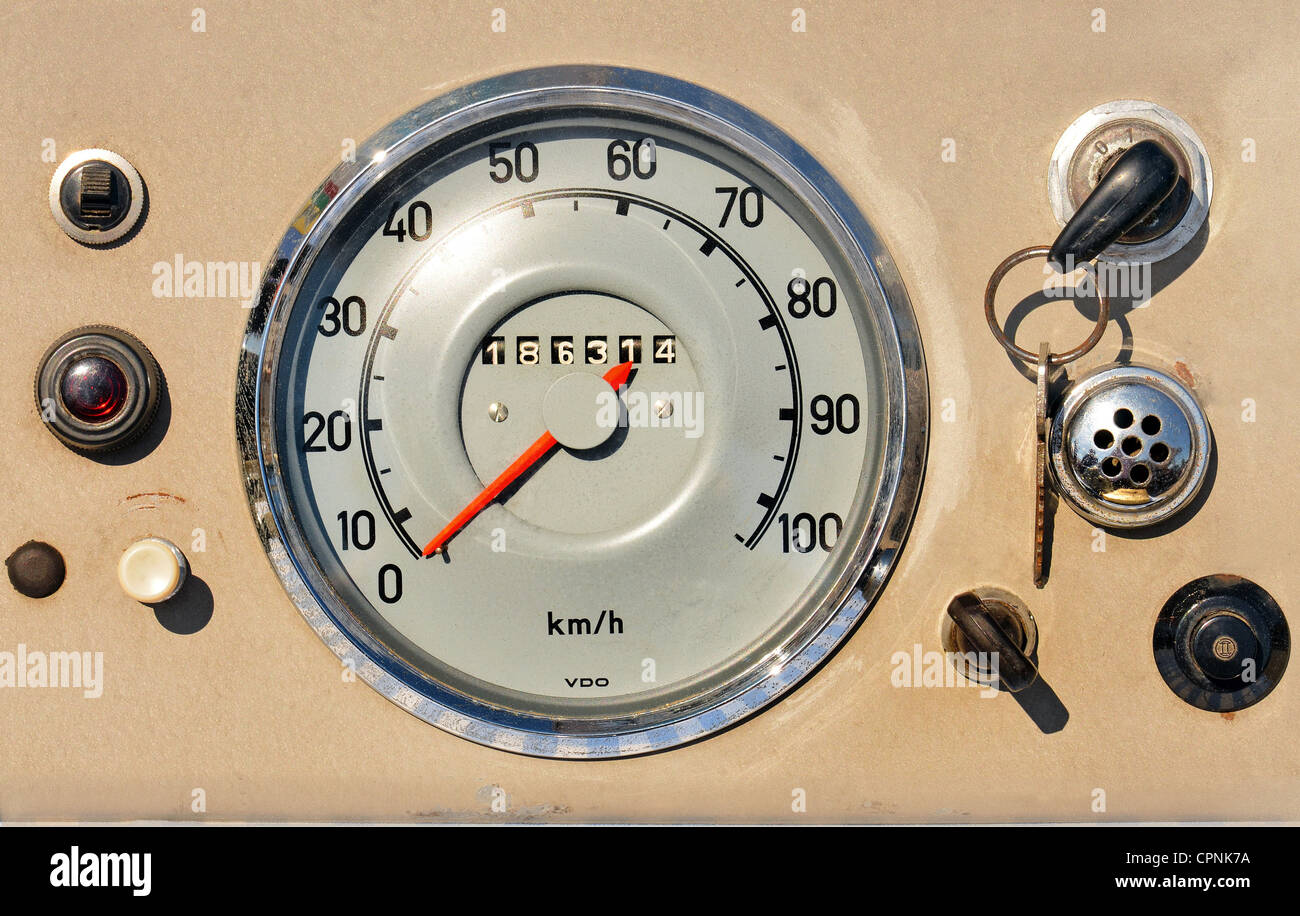technics, mileage indicator, VDO speedometer, Germany, circa 1956, switch, switches, lever, levers, button, buttons, - Stock Image